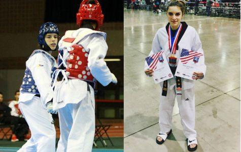 Brianna Salinaro roundhouses the taekwondo competition