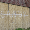 Buildings are boarded up in anticipation of Sandy