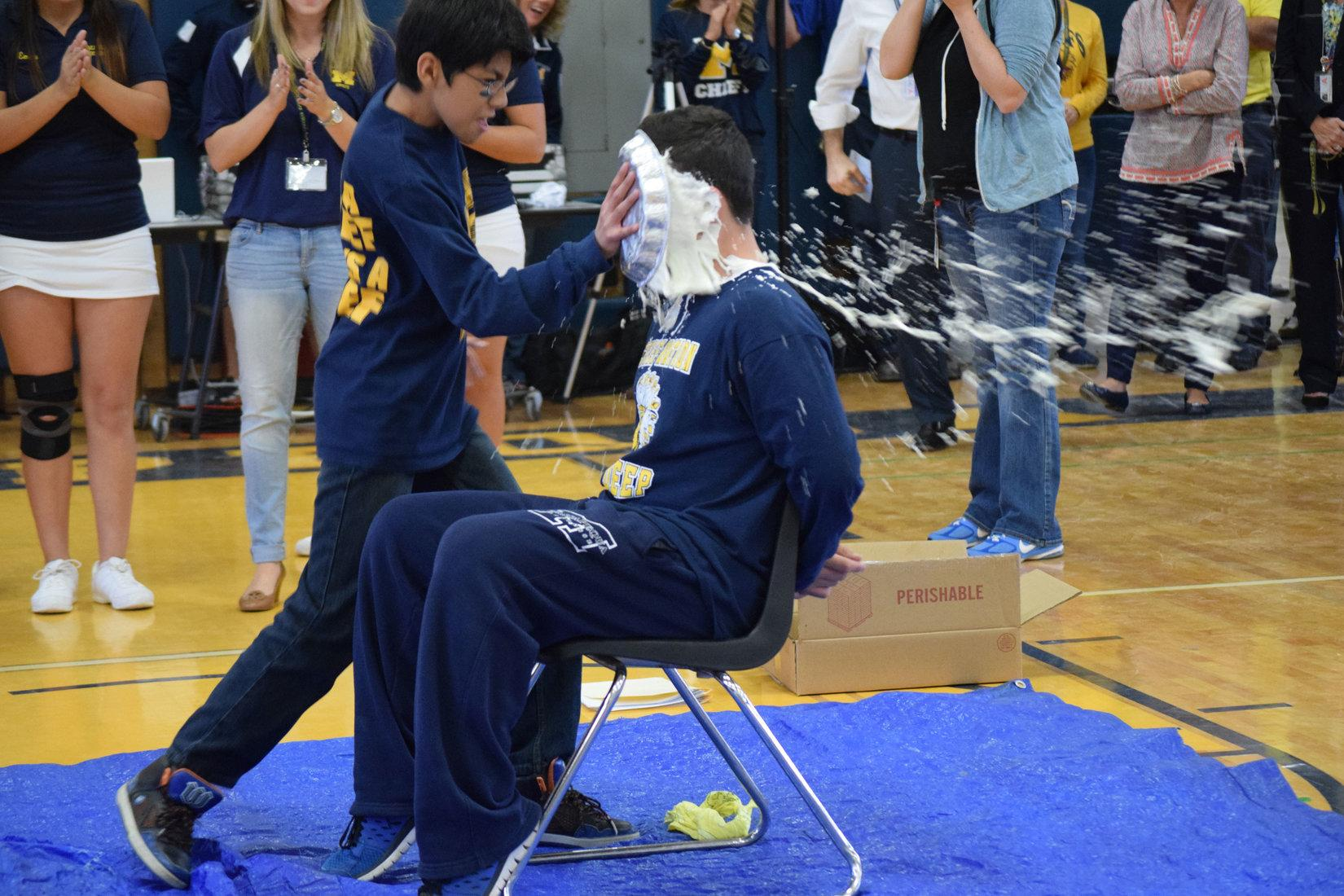 Senior Frankie Rizzo was one of three people to get pied at this year's Pep Rally.