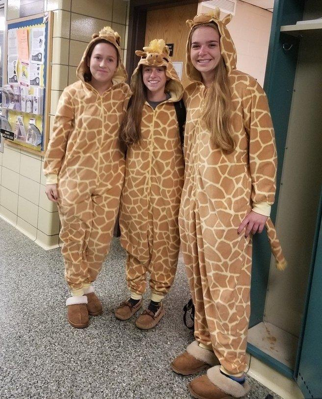 MHS students get comfy in onsies for pajama day!