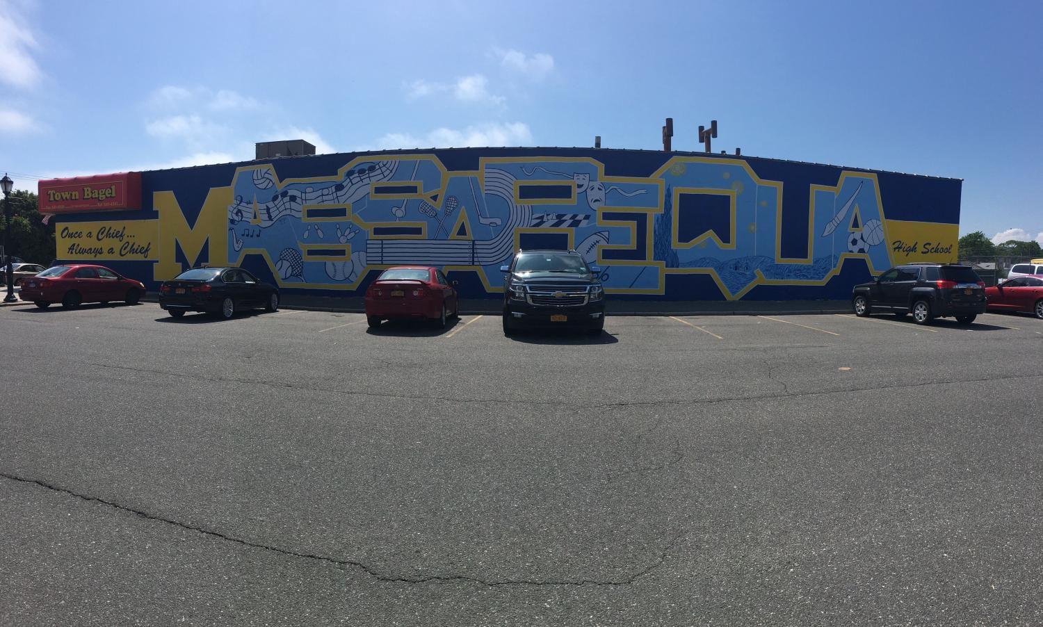 The Great Wall of Massapequa: The finished mural sits proudly next to the home of the Chiefs