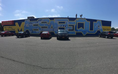 MHS art students paint the town blue (and gold)