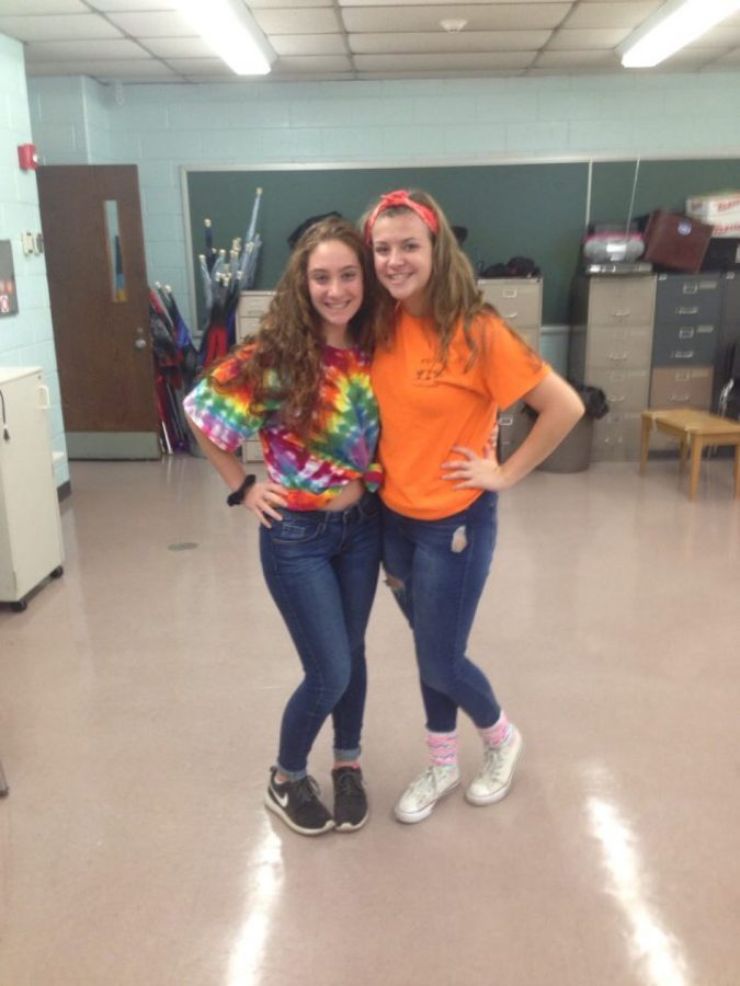 Two juniors sporting neon for Color Wars!