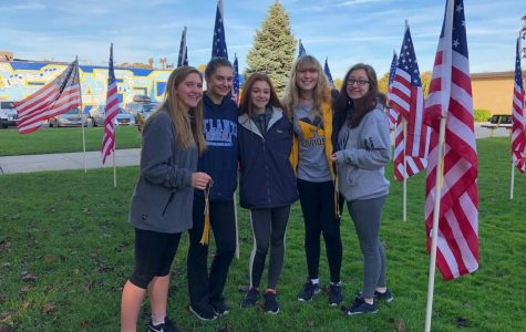 From left to right: (Juniors- Hannah Coleman, Barbara Lunz,  Co-Treasurer- Samantha Sivert, Ciara O'Connor, Senior- President- Kayla Collins)